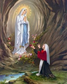 Our Lady of Lourdes.the Virgin Mary appearing to Saint Bernadette Sibourous in Lourdes France. Saint Bernadette, Bernadette Of Lourdes, St Bernadette Soubirous, Blessed Mother Mary, Divine Mother, Blessed Virgin Mary, Catholic Religion, Catholic Art, Catholic Saints