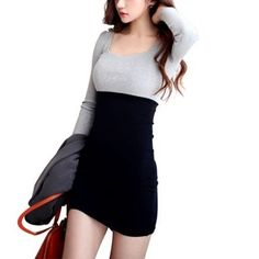 Bingirl Korean Fashion Women Slim Puff Long Sleeve Patchwork Scoop Neck Mini Dress  Bingirl Korean Fashion Women Slim Puff Long Sleeve Patchwork Scoop Neck Mini Dress Size info: The lable size is by Asian, convert to international size for reference before ordering.    Made of cotton, soft hand feel and good breathability, comfortable to wear.    It featuring puff long sleeve, scoop neck, splice, slim fit, contrast color, mini dress.    This dress is slim bodycon design, which suitab..
