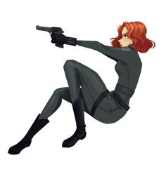 Pinup Arena • taryndraws: Just Black Widow, kicking some butt.
