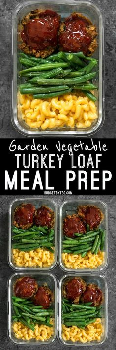 It's comfort food in a box! You'll look forward to eating this veggie-packed Garden Vegetable Turkey Loaf Meal Prep for lunch every day. BudgetBytes.com