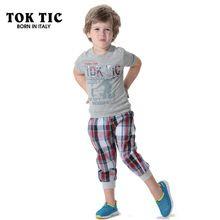 e763c9ab5761 TOK TIC age boys cotton clothing set antumn new fashoin kids clothes set boy  print t shirt and plaid pant suits