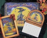 Happy Halloween Floorcloth, screen, and calendar insert Pattern Packet