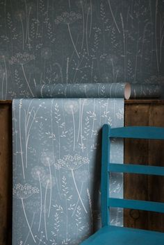 Paper Meadow in 'Teal' by Hannah Nunn // Blue Teal Floral Botanical Natural Tonal Dandelion Woodland Nature Wallpaper Roll Dandelion Wallpaper, Teal Wallpaper, Dandelion Clock, Bathroom Wallpaper, Creation Deco, Bleu Turquoise, Lounge Design, Designer Wallpaper, Bed Sets