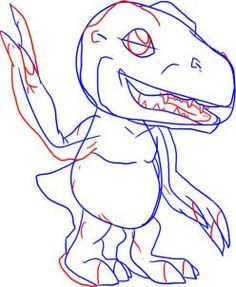 How To Draw Agumon From Digimon Step By Anime Characters