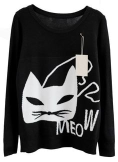 Black Long Sleeve Cat Print Knit Sweater / B.Millien Boutiques