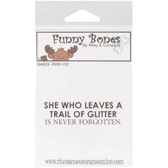 Riley & Company Funny Bones Cling Mounted Stamp 5.1cm x 3.2cm -Trail Of Glitter.