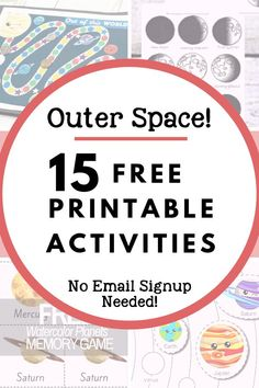15 Free Printable Activities for Learning About Space! There are activities here for the solar system, constellations, and moon phases. I put together this list to get myself ready to keep my preschooler involved in our outer space exploration. I checked Solar System Activities, Space Activities For Kids, Moon Activities, Space Preschool, Solar System Projects, Free Preschool, Science Activities, Preschool Learning, Teaching Science
