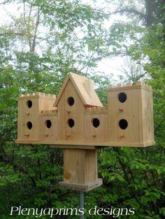Birdhouse.8 nest castle bird house,castle folk art dollhouse display