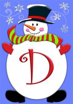 Wonderful Jolly Snowman Monogram D Garden Flag, FREE Shipping!