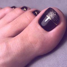 Fall Toe Nails, Black Toe Nails, Pretty Toe Nails, Cute Toe Nails, Love Nails, My Nails, Simple Toe Nails, Toe Nail Color, Toe Nail Art