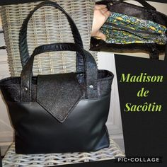 Sac Madison en duo de similis noirs cousu par Natacha - Patron Sacôtin