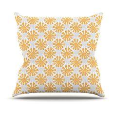 Kess InHouse Apple Kaur Designs Sunburst Orange Gray Indoor/Outdoor Throw Pillow - SA1008AOP0