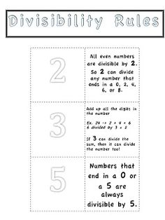 Middle School OCD: Master Math Notebook: Divisibility Rules (part 4 of a gazillion parts)