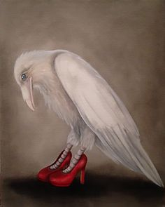 """Raven In Red Shoes by Trace Yeomans, oil on canvas 16"""" x 20"""""""