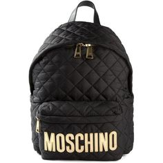 Moschino Quilted Logo Backpack ($695) ❤ liked on Polyvore featuring bags, backpacks, black, black rucksack, rucksack bag, top handle bag, moschino bags and quilted bag