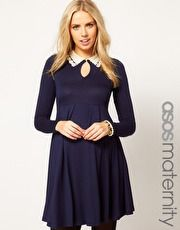 ASOS Maternity Skater Dress With Peter Pan Crochet And Beaded Collar