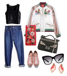 Summer Night by mimijahame on Polyvore featuring polyvore, мода, style, Levi's, Miu Miu, Kate Spade, Dolce&Gabbana, Fendi, fashion and clothing