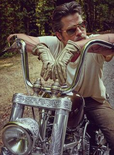 "#Brad #Pitt: ""I first rode at age 7 on my cousin's Honda Mini Trail 50. I tried to jump it and ran it into my grandmother's car. He was severely pissed off. My first bike was a Kawi 150 enduro. I won it at age 12 in a contest for selling the most pecan log rolls door to door after school. I crashed it four weeks later."""