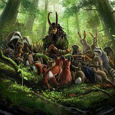 "Cernunnos, god of animals.Cernunnos is the conventional name given in Celtic studies to depictions of the ""horned god"" of Celtic Forest Creatures, Fantasy Creatures, Mythical Creatures, Creatures 3, Druid D&d, Digital Art Gallery, Celtic Mythology, Green Man, Gods And Goddesses"