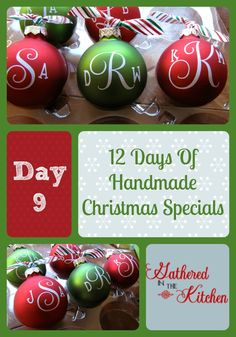 12 Days Of Handmade Christmas Specials – Day 9: Vinyl Monogrammed Ornaments | Gathered In The Kitchen |