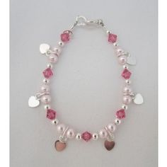 Swarovski Pink Pearls and Crystals with Sterling Silver Hanging Hearts Bracelet