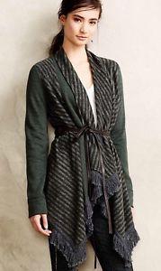 Anthropologie Saturday Sunday Elise Blanket Cardigan Sz Small 4/6 Dark Green New  | eBay