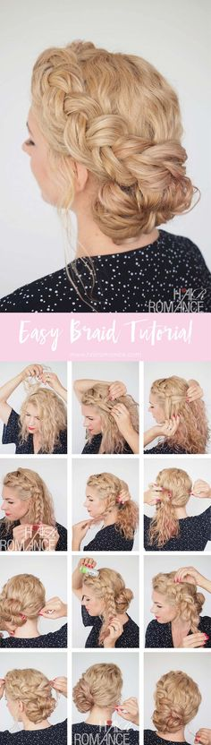 Hair Romance – Great Hair Fast – Braid Tutorial for Messy Curly Hair Hair Romance – Great Hair Fast – Messy Curly Hair, Messy Curls, Curly Hair Styles, Messy Braids, Curls Hair, Long Curly, Big Hair, Box Braids, Braided Hairstyles Tutorials