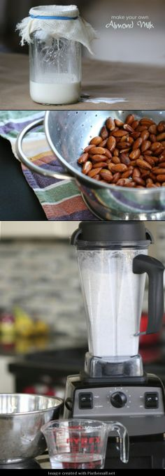 DIY Almond Milk ~ Cover almonds w/ water, sit overnight. Drain & rinse. Stretch cheesecloth over top of jar & securing w/ a rubber band. Place almond & 3c water in blender, add 1 Tbsp. honey, ½ tsp Kosher salt & any other flavoring ingredients.(Dates, figs, vanilla..) Blend on high one min. Strain & let drain an hour. Keeps up to 3 days. Note: The solids can be used in smoothies, pancake batter, or dried for several hours in the oven & used as flour in cookies or other recipes.