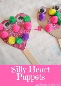 Your kids will love making these fun Silly Heart Puppets from Creative Family Fun!