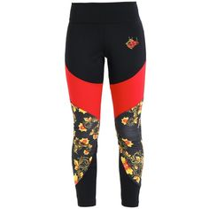 Nike Sportswear FLORAL Leggings ❤ liked on Polyvore featuring pants, leggings, nike pants, floral pants, red trousers, nike and floral printed pants