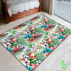 New flamingos flowers leaves tropical nature painted Blanket