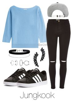 """""""Bts Begins - Jungkook """" by ari2sk ❤ liked on Polyvore featuring adidas, malo, River Island, Cristabelle, Miss Selfridge and Maria Francesca Pepe"""