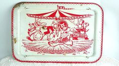 Vintage Childrens Folding TV Tray Red and White Circus