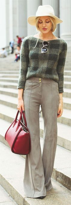 Melle Taupe Suede Bell Bottom Trousers @roressclothes closet ideas #women fashion outfit #clothing style apparel