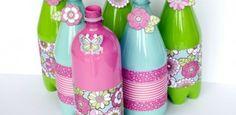 plastikflaschen basteln lackieren kleben papier floral vintage