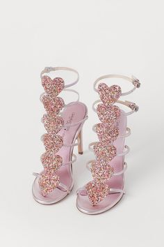H&M *Giambattista Valli Limited Edition* Metallic Pink Heart Sandals High Heels Boots, Shoe Boots, Shoes Heels, Stilettos, Cute Shoes, Me Too Shoes, Glitter Heels, Metallic Pink, Dream Shoes
