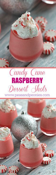 No Bake and Gluten Free, these Candy Cane Raspberry Dessert Shots are creamy and easy to make and only have 4 ingredients - Peas and Peonies #CookingUpHolidays #sponsored