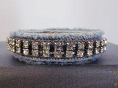 Vintage Rhinestone and Denim Bracelet  Denim by daringmisslassiter, $16.00