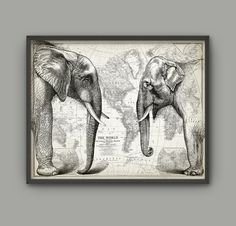 Elephant Wall Art Poster - African And Asian (Indian) Elephant Print - Elephant Print For Good Luck - Elephant Poster - Elephant Room Decor