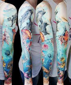 Sea World Dolphines tattoo sleeve