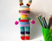 children rabbit toy amigurumi crochet doll rainbow