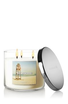NEW Seashore 3-Wick Candle – crisp water lotus, bright citrus and a touch of salt water in the air ♥   #LUVBBW