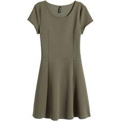 H&M Textured dress ($20) ❤ liked on Polyvore featuring dresses, khaki green, circle dress, khaki dress, h&m dresses, h&m and green short sleeve dress