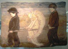 """Hugo Simbergin maalaus huovutettuna """"Haavoittunut enkeli"""""""
