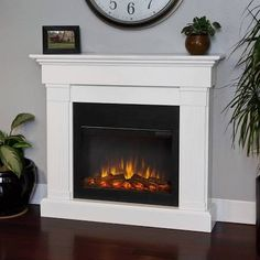 Real Flame Crawford Slim Line Electric Fireplace - White - 8020E-W