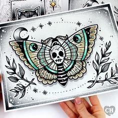 Skull/Death Moth Archival Tattoo Style Fine by CreepHeartByElla