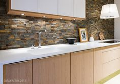 white bench top, soft wood colour underneath to warm it up. mirrored look in the cabinetry above Scandinavian Kitchen, Wooden Cabinets, Living Room Kitchen, Under Cabinet Lights, Scandinavian Kitchen Design, Cabinet, Kitchen, Kitchen Dining, Home Kitchens