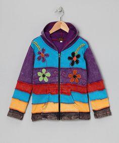 Look what I found on #zulily! Lilac Rainbow Stripe Zip-Up Hoodie - Toddler & Girls #zulilyfinds