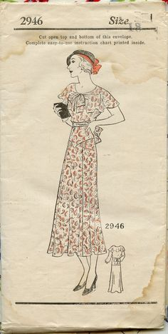 1930s Vintage Sewing Pattern Mail Order 2946 by Suzanne Lane Misses Dress with Cape Collar Bust 36. $40.00, via Etsy.