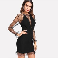 8590c7f3e2677 Black Pearl Beading Vine Mesh Panel Dress Women Ruffle Round Neck Long  Sleeve Sexy Dress Party Bodycon Dress